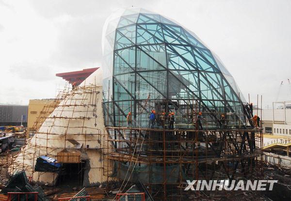 拍摄的建设中的上海世博会以色列馆.新华社发-上海世博园区展雄姿