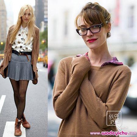 最新欧美街拍毛衣搭配扮酷图片