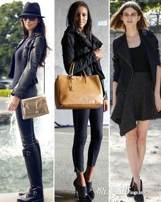 时尚解析:皮衣通过在裙装、裤装、单鞋、靴子中不同的变换和搭配,
