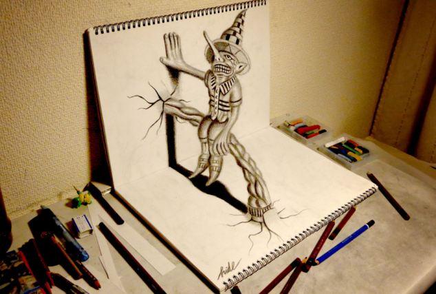 日本画家铅笔勾勒创意立体画作(高清组图)