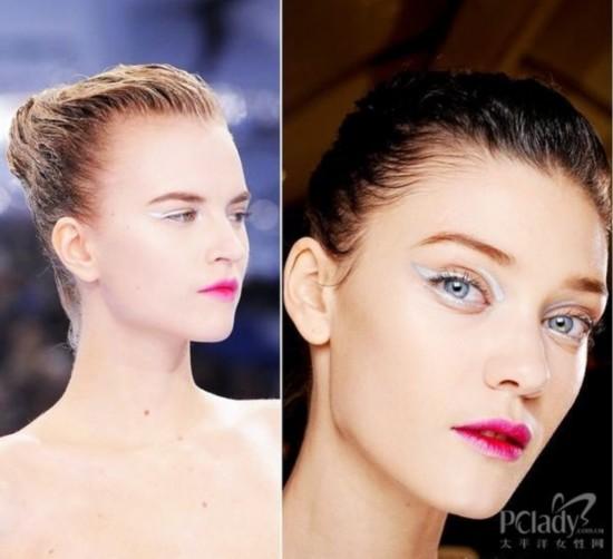 夏天味道十足的冷色妆容需要同样清凉的发型,全部头发用发胶固定在脑图片
