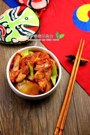 韩国风味江南style 下饭辣白菜炒五花肉