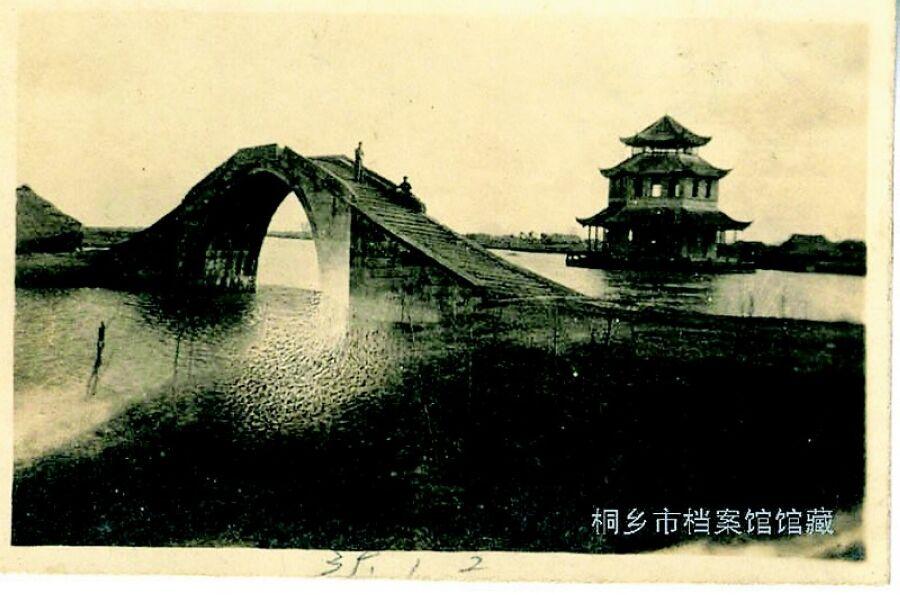 乌镇太师桥及远处的分水墩