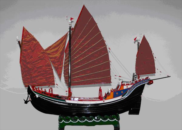 民间美术--古图纸船模--岱山新闻网腿钢铠帆船燃魔除图片