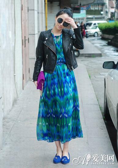 黑色皮衣搭配长裙LOOK1-皮衣搭配长裙 摇滚范帅气十足