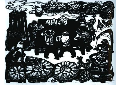 然后敷以颜料,反印在渲纸上,一幅黑白分明的小人头木刻版画就诞生了.