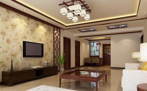 中式气质的客厅,米色印花壁纸.