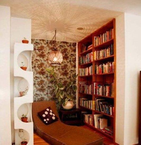 书房设计手绘效果图:融休憩和读书为一体的小小空间图片