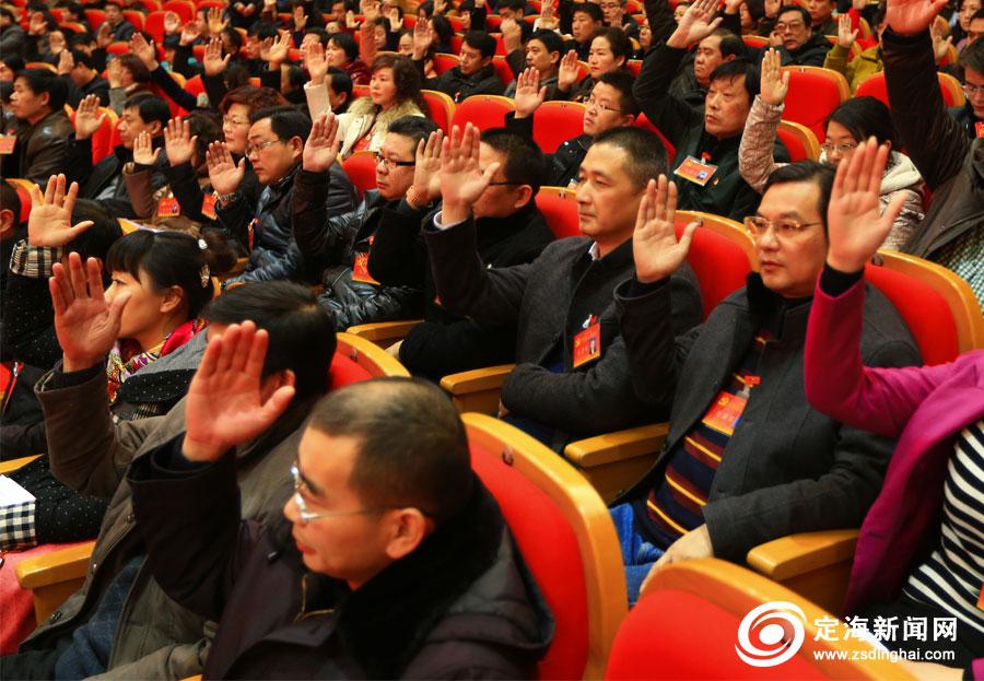 表决 举手 大会/党代表举手表决通过区委工作报告、区纪委工作报告的决议