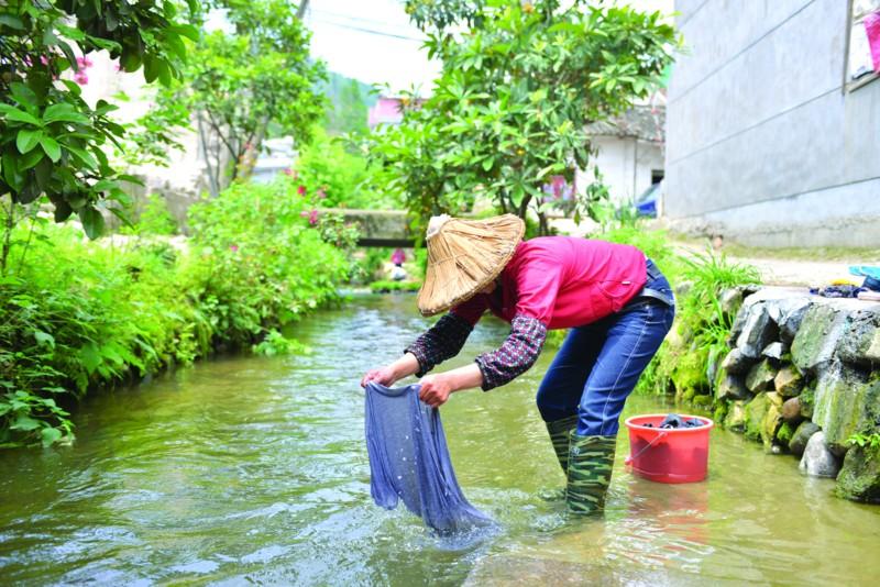 溪流中漂洗衣服