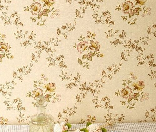 卧室贴墙纸效果图:温馨田园小花卧室墙壁纸图片