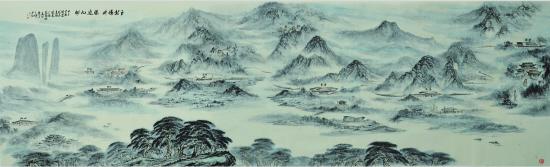 """""""要将传统中国画的写意山水与非常写实且现代化的高铁车站,高铁等融合图片"""