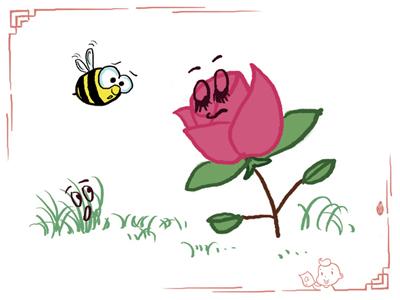 一丛草堆里长了一朵玫瑰花,它虽然美丽,但很骄傲.图片