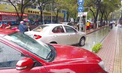 """司机随便停车 非机动车道被""""腰斩"""""""