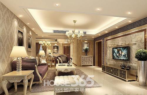 房屋客厅装修效果图:小奢华欧式风,印花壁纸搭配精致家具.