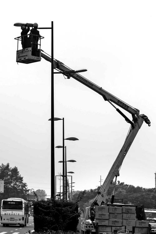 安装节能路灯 点亮绿色城市