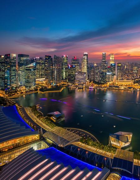 这张照片是从新加坡滨海湾金沙空中花园a座顶部拍摄的.