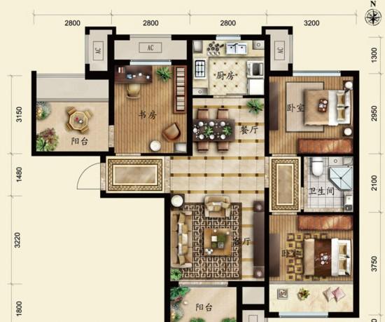 保利春天里-三居室-95.00平米-户型图装修效果图-70平米二居室新婚时