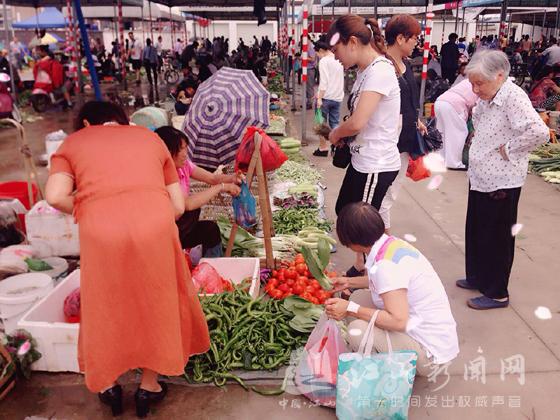 江城菜市场交易兴旺