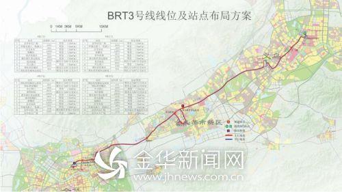 BRT3号线线位走向及站点布局图-金华首条城际快速公交来了图片
