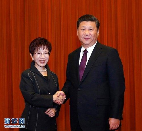 """习近平会见洪秀柱:坚持""""九二共识"""",反对""""台独"""""""