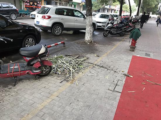创卫警示榜:甘蔗皮扔在人行道上