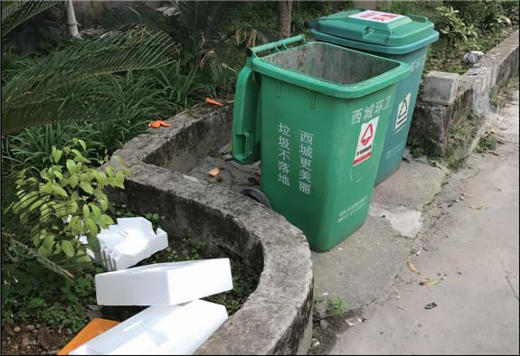 城街道某小区里看到,尽管路面上放着两个垃圾桶,但还是有人将果