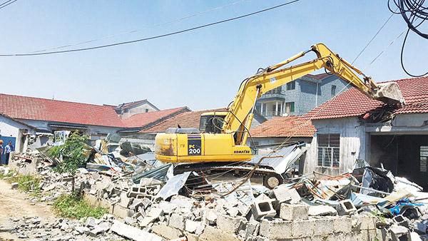 鹿山街道拆除20多处生产用房