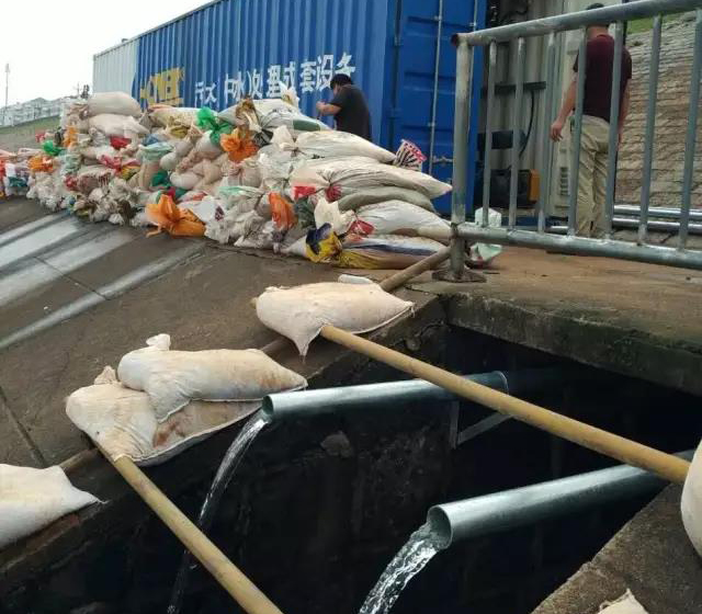 排涝闸口污水处理设备试运行