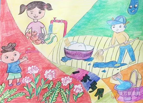 """""""节水""""主题绘画 童趣盎然"""
