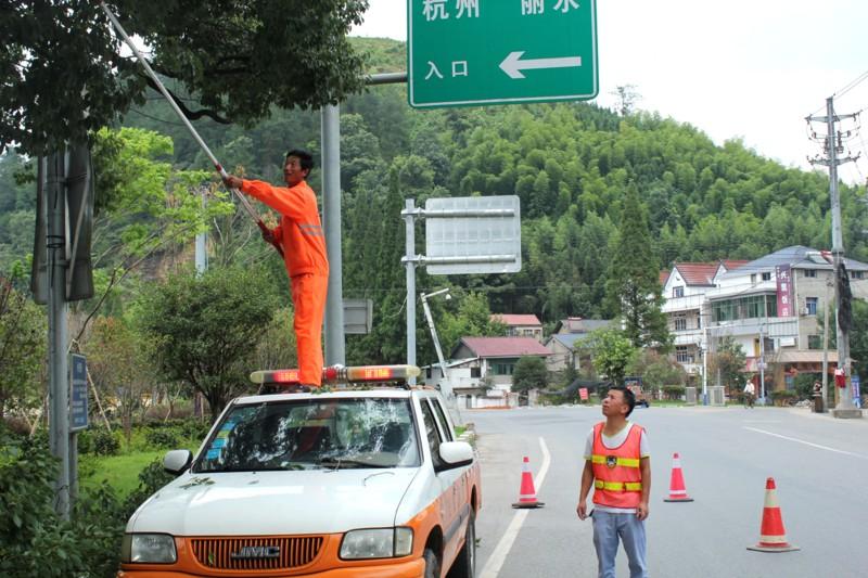 修剪公路绿化树木