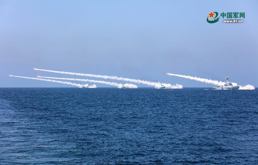 海军在黄渤海海空域组织实兵实弹对抗演习 实射各型导弹数十枚