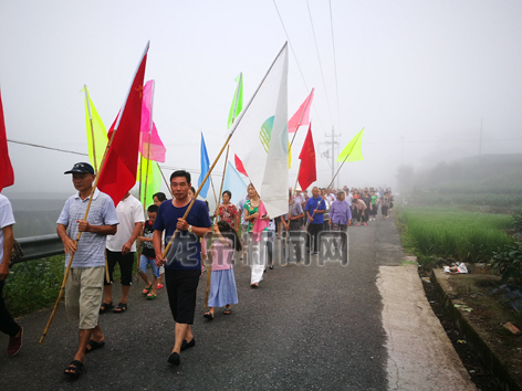 城北乡大贵溪村组织村干部、党员、村民等参加健步走活动