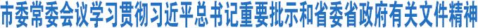 市委召开常委会议学习贯彻习近平总书记重要批示和省委省政府有关文件精神