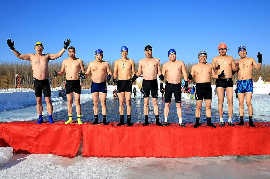挑战极寒冬泳