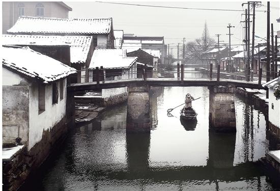 雪后的道墟街道肖金街河