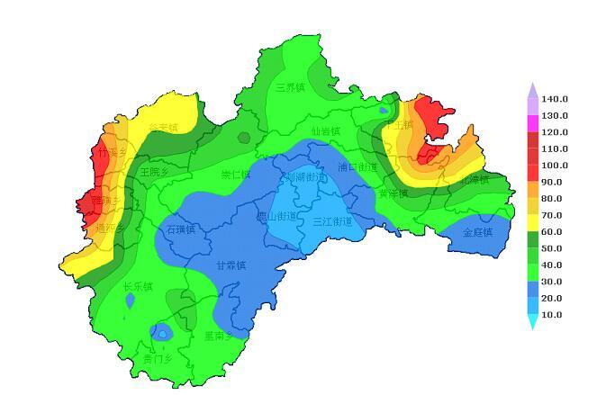 我市平均雨量39.5毫米