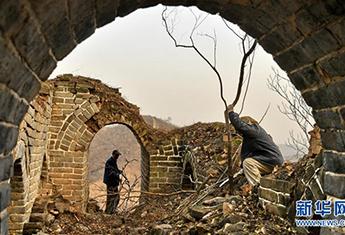 北京延庆:真钱在线打麻将,冬日养护古长城