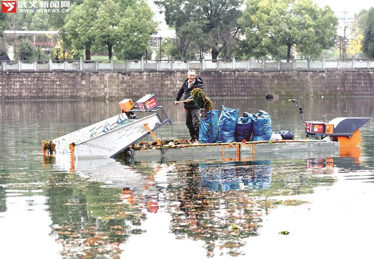武义:清除河道枯叶 确保水质清澈