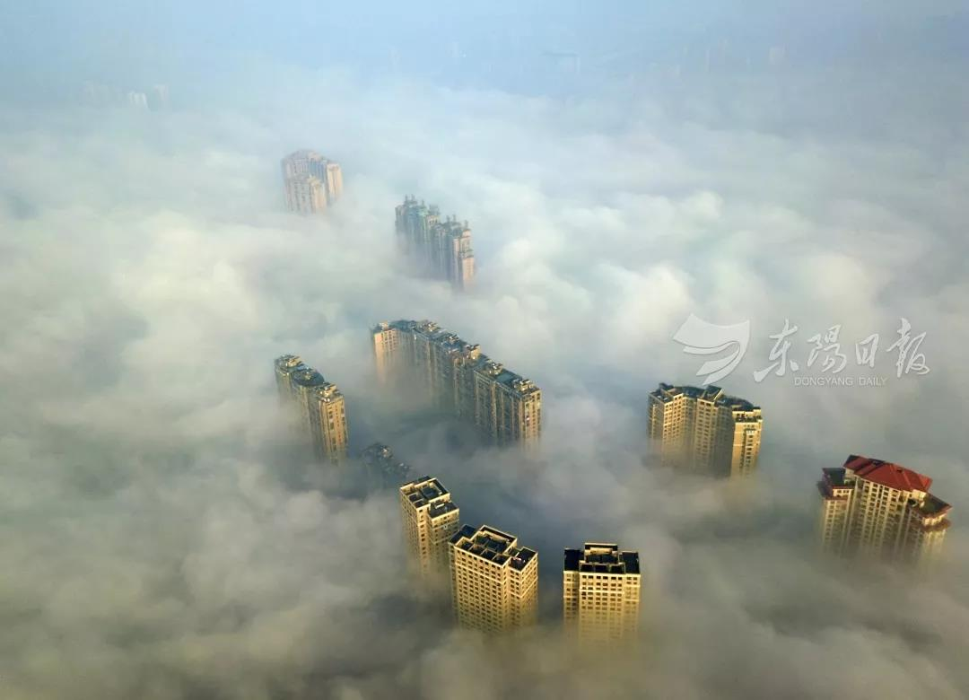 """雾锁东城!太震撼了!今早""""仙境""""里的东阳这个模样……"""