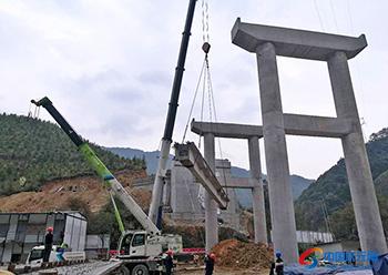 照田圩大桥完成首片梁板架设