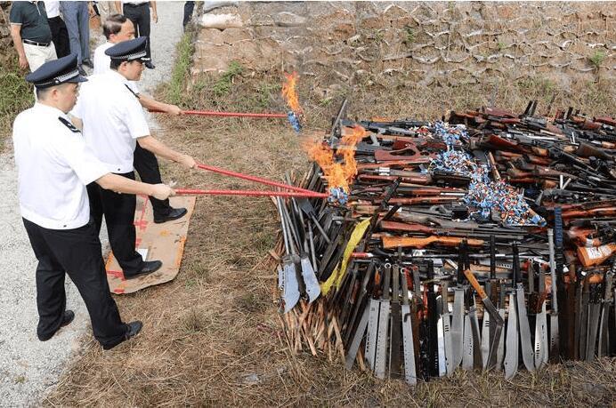 全國154個城市開展集中銷毀非法槍爆物品活動(圖)
