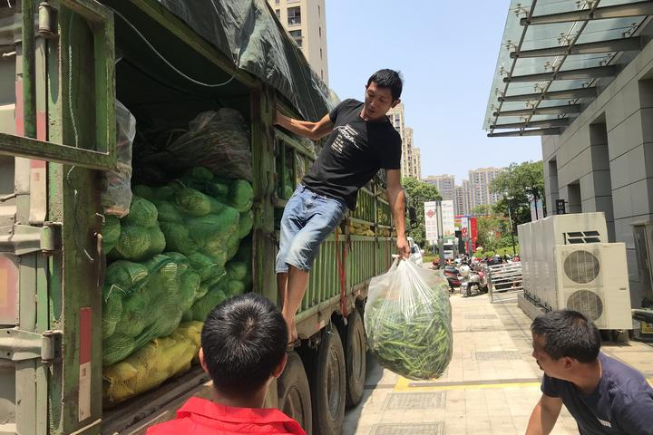 四川爱心千里送海岛 舟山台风受灾群众收到新鲜蔬菜