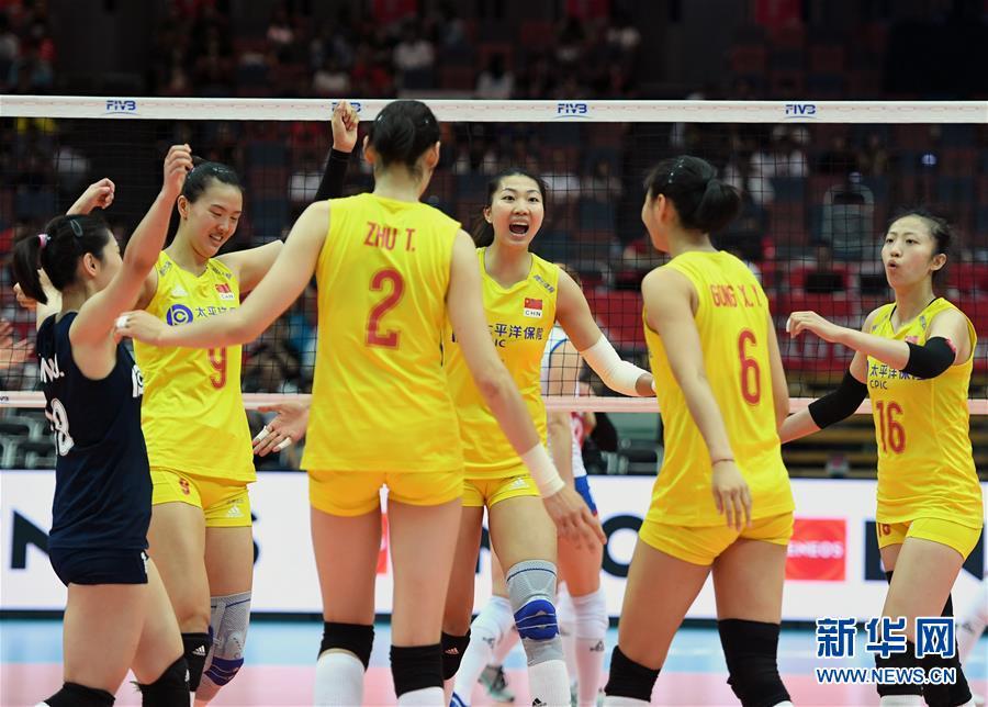 排球——女排世界杯:中国队战胜塞尔维亚队