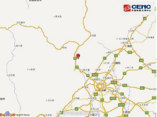 四川阿坝州汶川县发生3.4级地震 震源深度22千米
