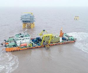 皇冠体育在线4#海上风电项目海底电缆主缆敷设完成