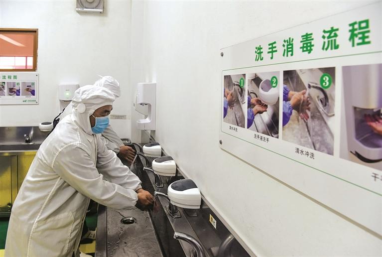 浙江天和农业集团有限公司员工上岗前洗手消毒