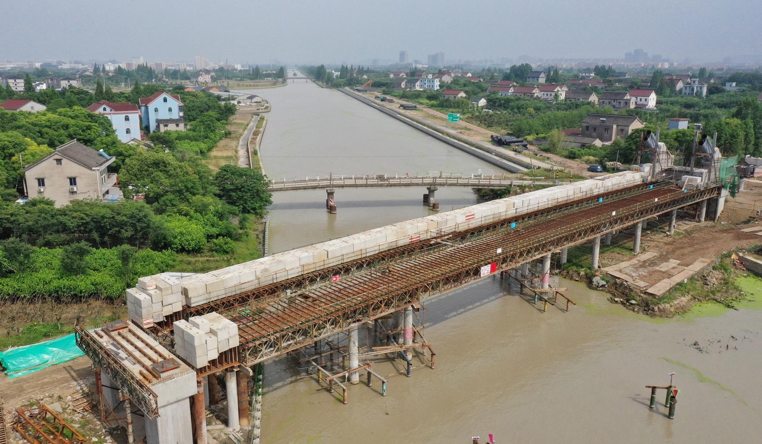 长山河上架新桥