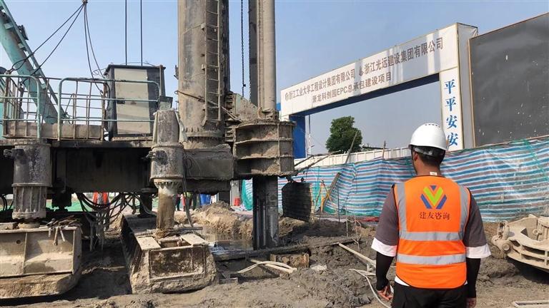 萧龙科创园是萧山―龙泉山海协作项目正在进行1号楼土方开挖工作