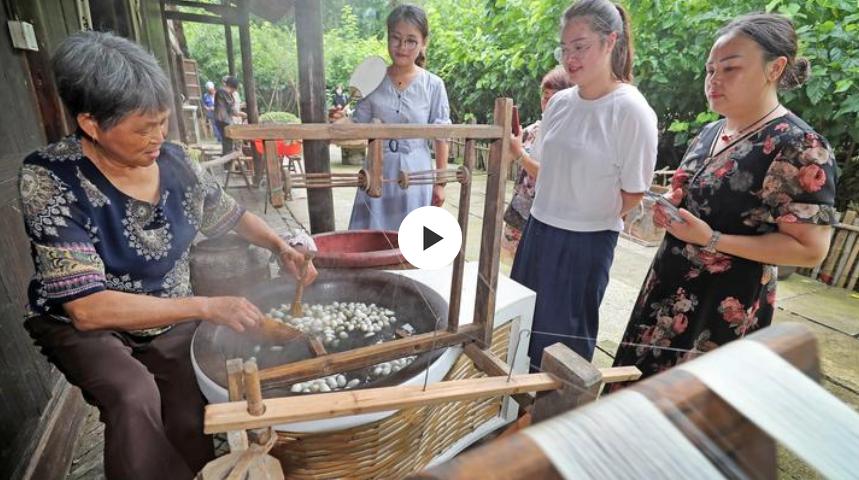 """杭州:""""文化和自然遗产日""""感受桑蚕文化"""